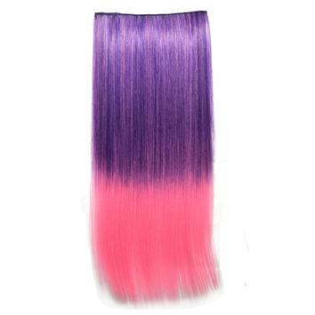 Beauty Hot Sale On Sale Hot Deal Sexy Wigs Dark Purple Gradient Straight Hair Clip Hair Extensions [4923176324]