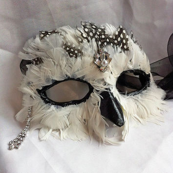 SNOWY OWL MASK Athena Paper Mache Masquerade Ball Ren Fair Mask with Diamonds