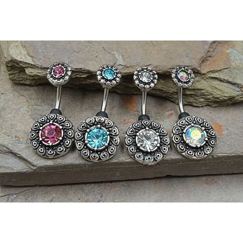 Tribal Pattern Crystal Set Belly Button Ring