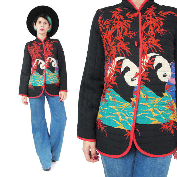 70S 80S Asian Quilted Jacket Vintage From Honey Moon Muse-1704