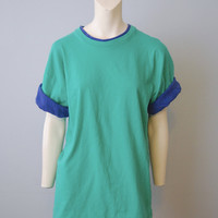 Vintage Deadstock 1990's Turquoise T-Shirt with Blue Roll Up Sleeves Southern Classics Size Large Never Worn Tshirt Tee Shirt Basic Plain