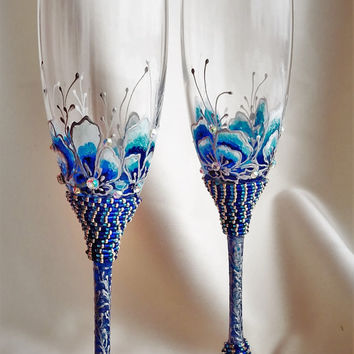 wedding champagne flutes blue wedding glasses.blue wedding flutes.blue wedding toasting glasses.blue wedding.blue wedding decorations set 2
