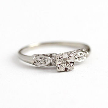 White Sapphire Ring - Vintage 14k White Gold Engagement Ring - Size 8 3/4 Illusion Head Promise Wedding Fine Bridal Diamond Accent Jewelry