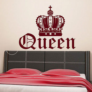 Wall Decals Queen Crown Decal Bedroom Decor Art Home Interior Design Vinyl MR454
