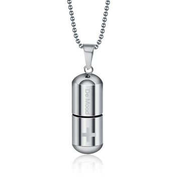 GAGAFEEL Open Capsule Pendant Necklace For Women Men Perfume Bottle Pill Cross Stainless Steel Bead Chain Necklace For Jewelry