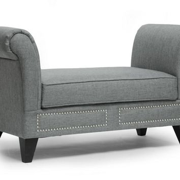 Baxton Studio Marsha Gray Linen Modern Scroll Arm Bench Set of 1