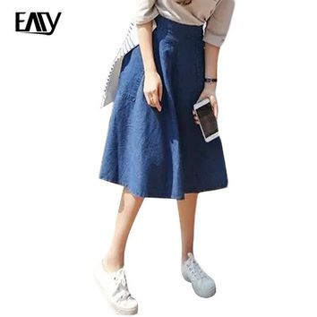 women denim skirt jeans high waist woman skirts womens fashion denim knee-length a-line elastic waist all-match blue midi skirt