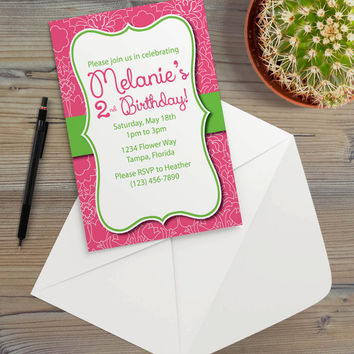 Instant Download - Pink Green Damask Flourish Flowers Floral Illustration Cottage Shabby Chic Garden Summer Party Invitation Template