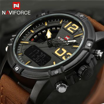 new Fashion Men Luxury Brand Quartz Analog Digital Leather Clock Man Sports Watches Army Military Watch