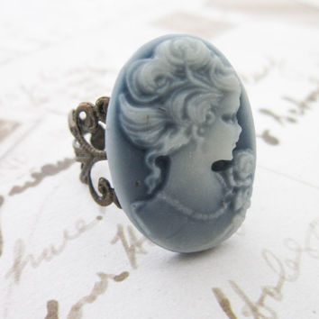 Blue Lady Cameo Ring - Filigree  Flower Edwardian Cabochon