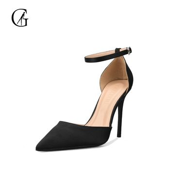 GOXEOU 2018 Women Shoes Thin Heel High Heels Sexy Pointed Toe Flock Lace-up Wedding Office Handmade Plus size Free Shipping 1