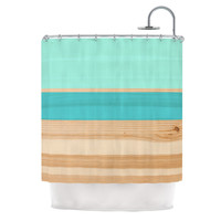 "KESS Original ""Spring Swatch - Blue Green"" Teal Wood Shower Curtain"