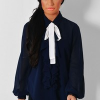 Prim Navy Ruffle Detail Neck Tie Blouse | Pink Boutique