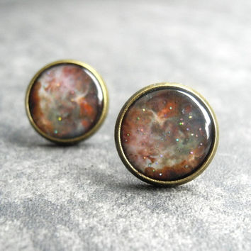 Galaxy Nebula Earring Studs - Beige Brown Fall Earrings - Space Universe Jewelry (E034)