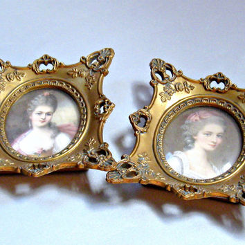 Small Victorian Portraits Gold Frames Cameo Creation