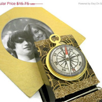 CIJ SALE 15% Off Large Decorative Clothespin - Masculine (Compass / Deer / Hunting / Grand Pa) - ChristmasInJuly Sale - On Sale