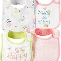 Baby Girls' 4-Pack Pretty Floral Bibs