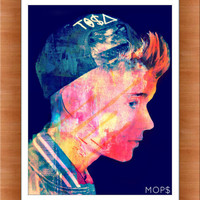 "YOUTUBE PRODUCT (Justin Bieber) 8x10"" Digital Illustration High Gloss Print by MOPS"