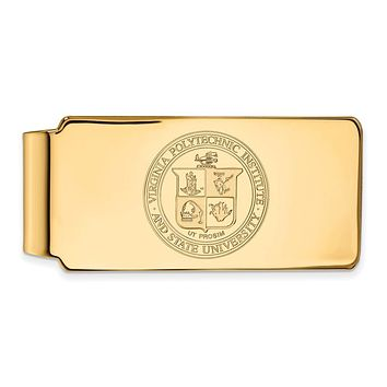 NCAA 14k Gold Plated Silver Virginia Tech Crest Money Clip