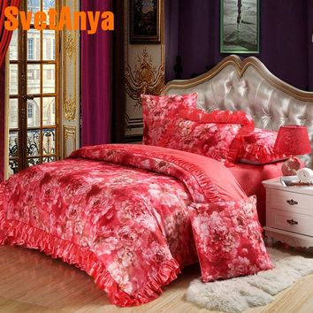 Svetanya Flower Jacquard Bedding set king queen size quilted Sheet Pillowcase duvet cover sets Silk cotton Polyester blend