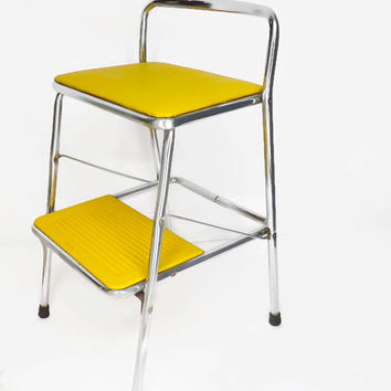 Vintage Cosco Stool Yellow Stool Vintage Yellow Cosco Folding Stool