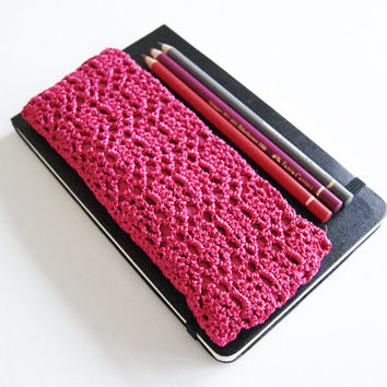 Fuchsia Pink Crochet Pencil Case