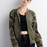 Camo Sleeves Bomber Jacket