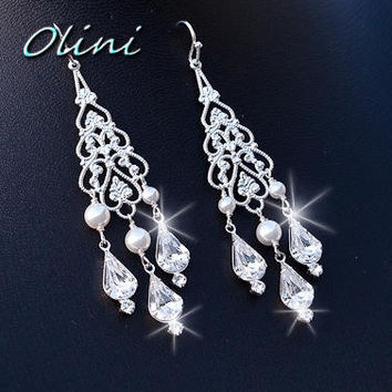 Wedding Jewelry, Wedding Accessories, Bridal Silver Chandelier Earrings with Swarovski Pearls - Pick your pearl color
