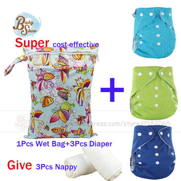 New Arrival Newborn Baby Care Set 3 Pcs Reusable Merries Diaper Fralda +1pcs Wet Bag Bolsa Mojada+3pcs Nappy Baby 7Pcs Gift Set