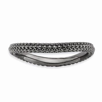 Sterling Silver Stackable Expressions Polished Black-plate Wave Ring
