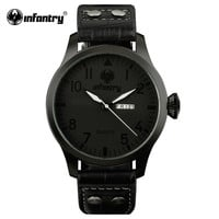 Watch Original Wrist Watches for Men Luxury Mens Black Sports Watches Day Date PU Leather