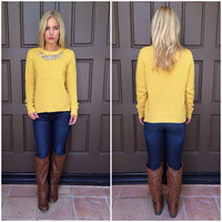 New Haven Crystal Bib Sweater - MUSTARD