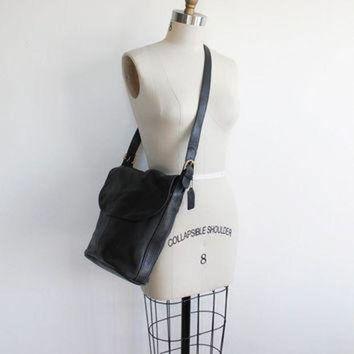 Vintage 80s Coach Black Leather Bucket Purse | Large Bag - Beauty Ticks