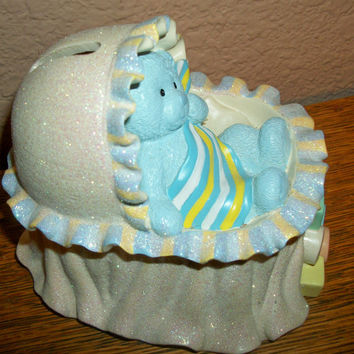 Baby Crib Coin Bank Vintage Russ Berrie Resin Teddy Bear Blue Pink Yellow Bassinet My First Money Keeper Baby's Room Decor Keepsake Gift