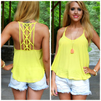 Daybreak Yellow Cage Back Tank
