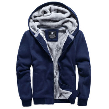 Men Zip Up Winter Hoodie with Extra Warm Design