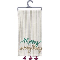 Merry Everything Bohemian Dish Towel with Tassel Trim