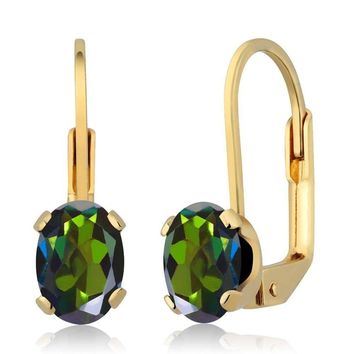 1.90 Ct Oval Forest Green Mystic Topaz Gold Plated Leverback Earrings