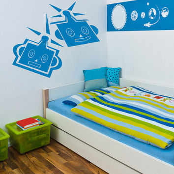 Vinyl Wall Decal Sticker Robot Heads #OS_AA198