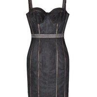Kymerah Black Suede Bustier Dress