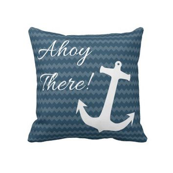Trendy Blue Chevron Blue Anchor Pillow from Zazzle.com