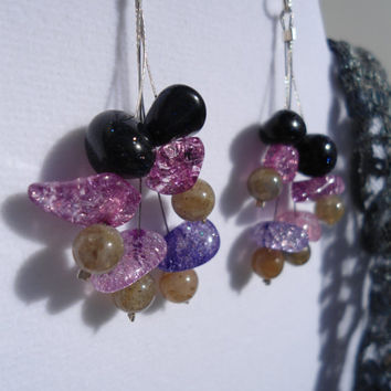 Sparkles Unite: Blue Sandstone earrings, Labadorite Earrings, Lavender earrings, Sparkle earrings, purple earrings