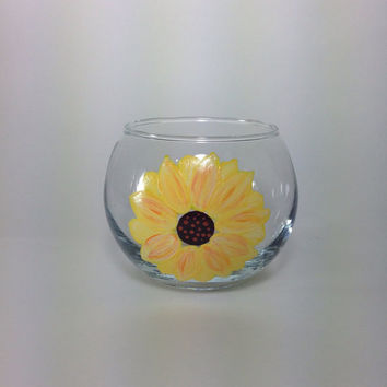 Glass Candle Holder with Hand Painted Sunflower