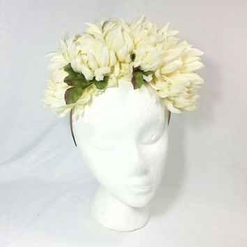 Day of the Dead Beige Flower Headband/Frida Kahlo Headband/Dia de los Muertos Hair Accessory/Headpiece