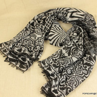 Gothic Cotton Scarf,2013 Fashion Geometric Women Scarf,Soft Warm Scarves with Rough Fringed Edges,Zara,Designer Style Shawl Wrap