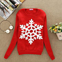 SNOWFLAKE CREWNECK- RED