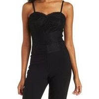 Black Strappy Lace Sweetheart Tank Top by Charlotte Russe