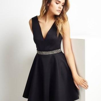 Lipsy Embellished Waistband Black Skater Dress