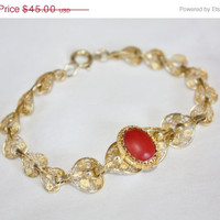 Easter Sale Art Deco Bracelet Sterling Italy Coral  Filigree Vermeil Cannetille 1920s  Jewelry
