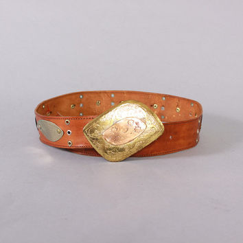 70s MOROCCAN Brass & LEATHER BELT / 1970s Etched Metal and Studded Leather Boho Waist Belt